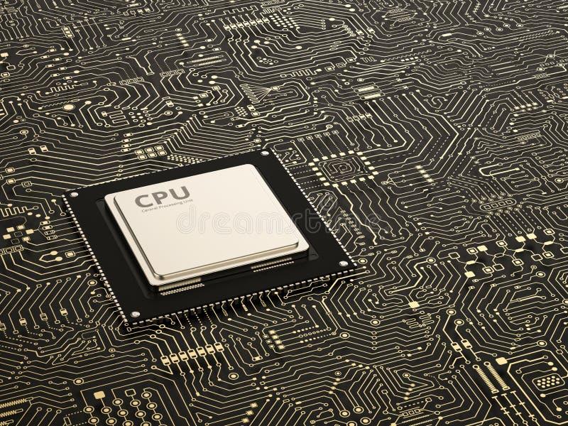 CPU sul circuito royalty illustrazione gratis