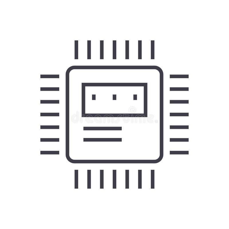 CPU-vektorlinje symbol, tecken, illustration på bakgrund, redigerbara slaglängder vektor illustrationer