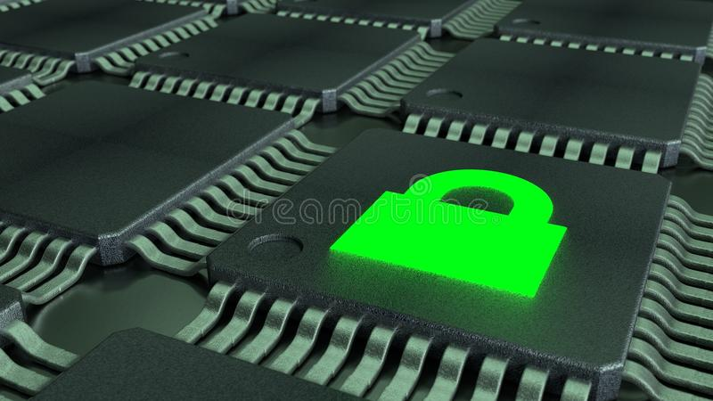 CPUS and a green padlock symbol glowing cybersecurity of internet of things concept. Grid of connected CPUS and a green padlock symbol glowing cybersecurity of royalty free illustration