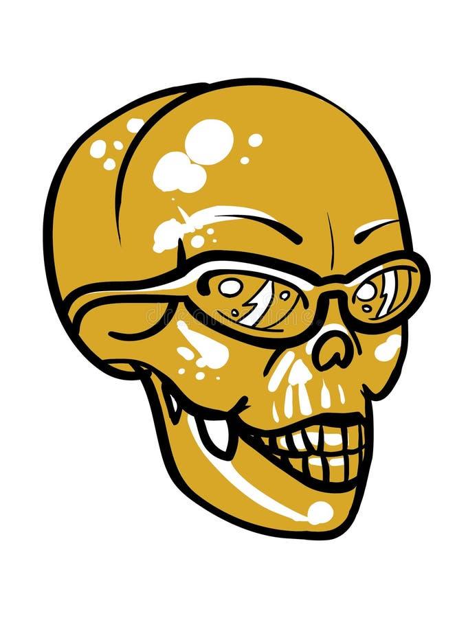 Cráneo amarillo de oro con las gafas de sol ilustración del vector