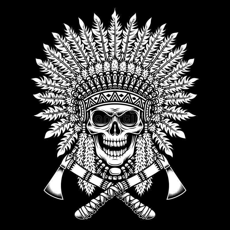 Cráneo americano del jefe indio con las hachas de guerra cruzadas en fondo negro stock de ilustración