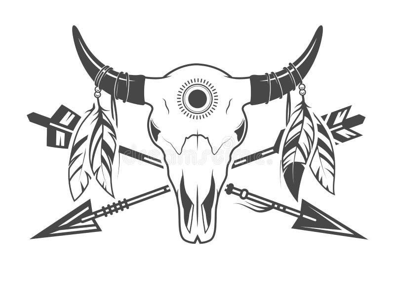 Cráneo animal con las flechas libre illustration