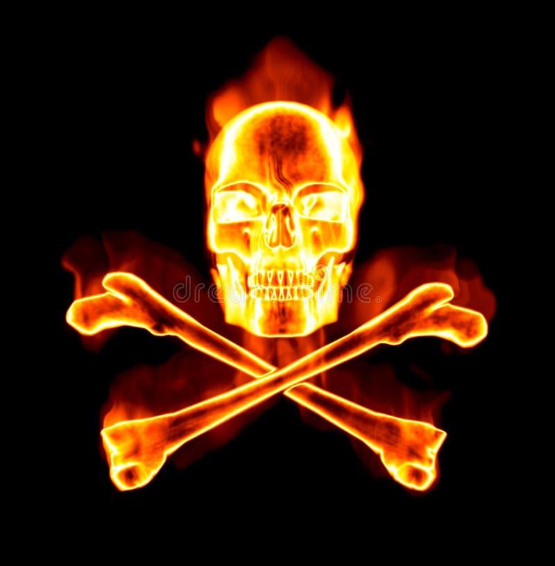 Cráneo ardiente y huesos cruzados stock de ilustración