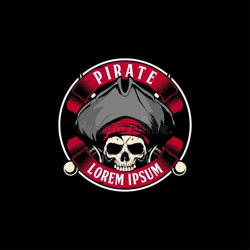 Cráneo asombroso y único del pirata con la plantilla cruzada del logotipo de la insignia del vector de la espada y de la cinta stock de ilustración