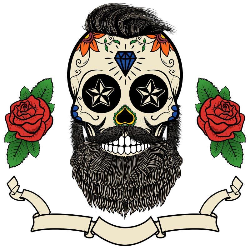 Cráneo barbudo ilustración del vector