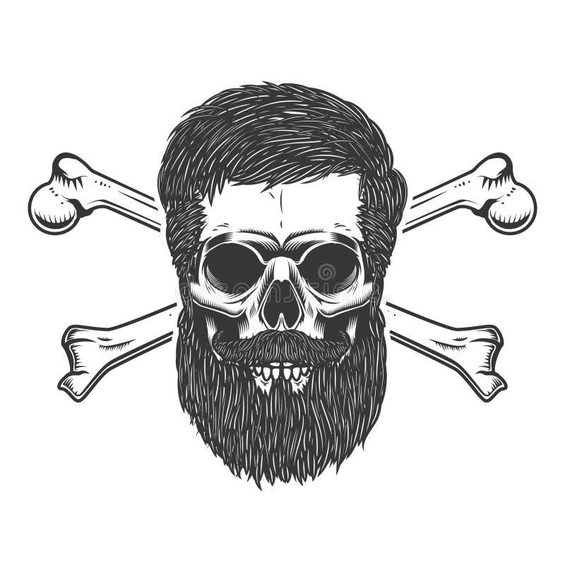 Cráneo barbudo con bandera pirata Diseñe el elemento para el emblema, firme, etiquételo, cartel ilustración del vector