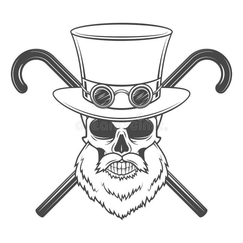 Cráneo barbudo viejo del caballero del steampunk con las gafas ilustración del vector