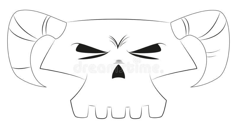 Cráneo blanco de la historieta imagenes de archivo