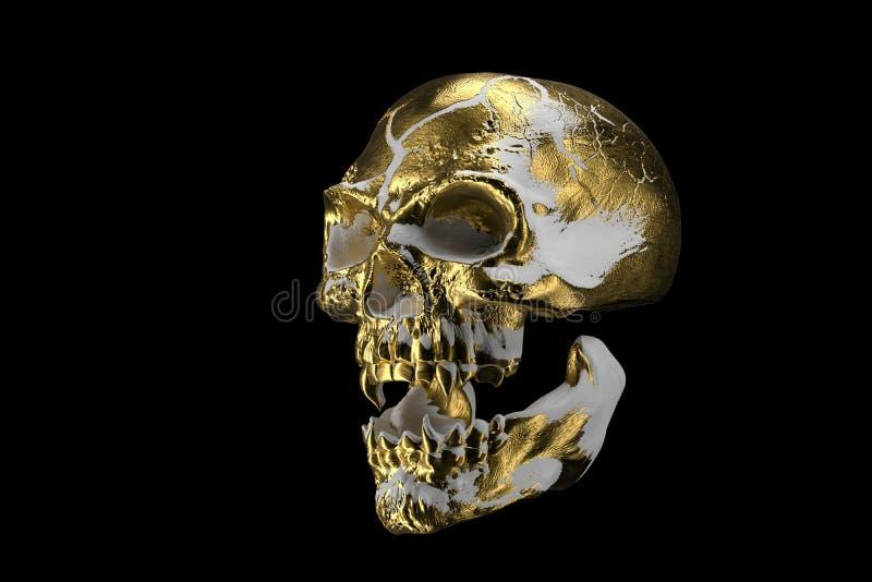 Cráneo blanco de oro aislado en fondo negro El cráneo demoníaco de un vampiro Cara asustadiza del skilleton para Halloween stock de ilustración