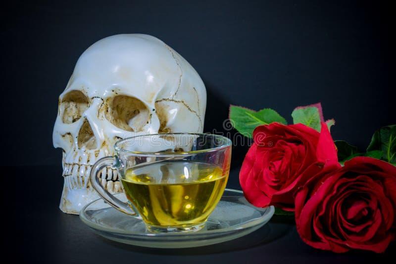 Cráneo blanco, Rose roja y té en vidrio imágenes de archivo libres de regalías