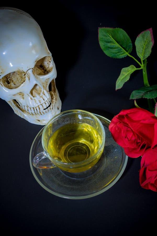 Cráneo blanco, Rose roja y té en vidrio imagen de archivo libre de regalías