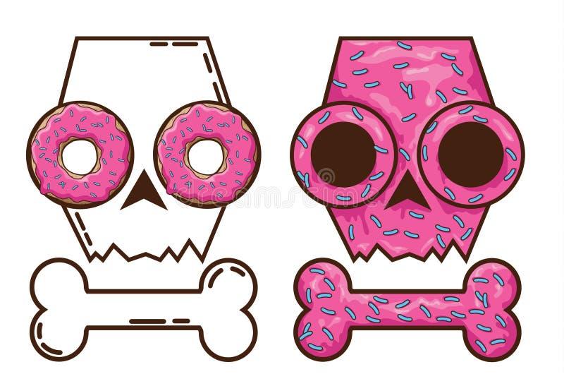 Cráneo comestible caramelo y muerte cráneo con los anillos de espuma Cráneo del pan de jengibre cak festivo ilustración del vector