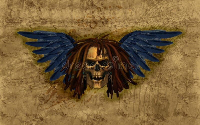 Cráneo con alas con Dreadlocks en Grunge ilustración del vector