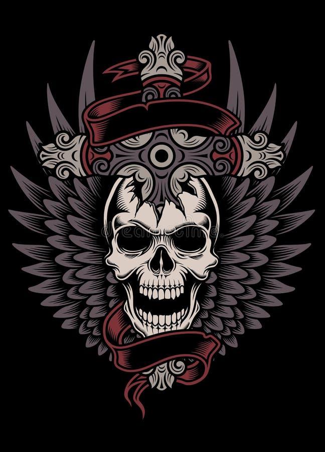 Cráneo con alas con la cruz stock de ilustración