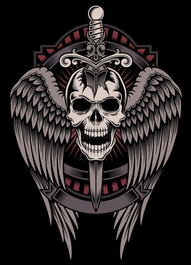 Cráneo con alas con la espada pegada ilustración del vector