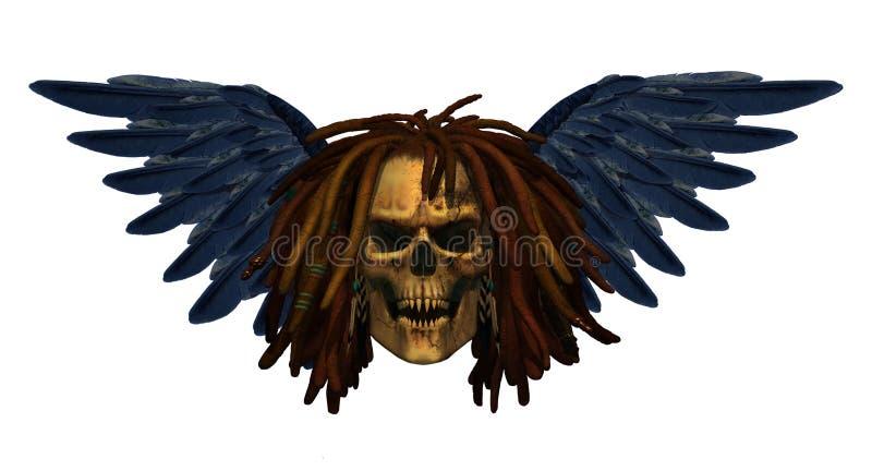 Cráneo con alas del demonio con Dreadlocks stock de ilustración