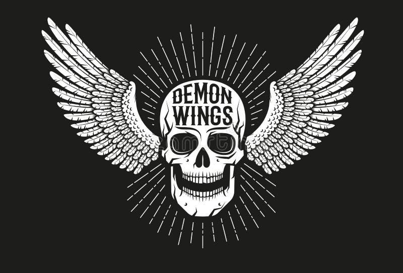 Cráneo con alas emblema del motorista del vintage libre illustration
