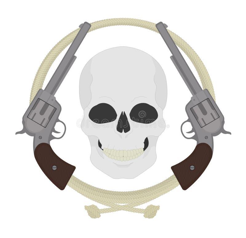 Cráneo con dos revólveres y emblemas del lazo ilustración del vector