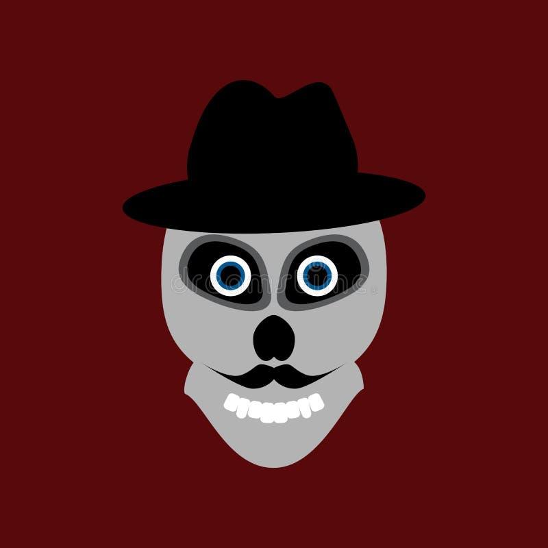 Cráneo con el bigote en sombrero Ilustraci?n del vector stock de ilustración