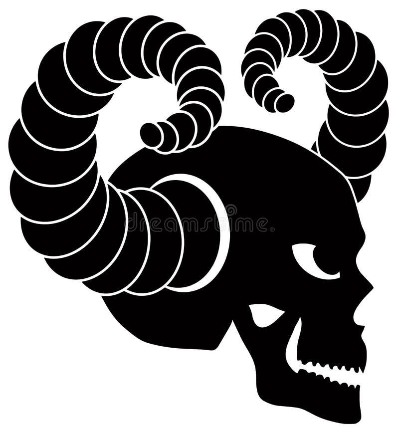 Download Cráneo Con El Ejemplo De Los Cuernos Ilustración del Vector - Ilustración de diablo, muerte: 42428789