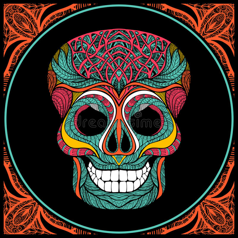 Cráneo con el modelo coloreado stock de ilustración