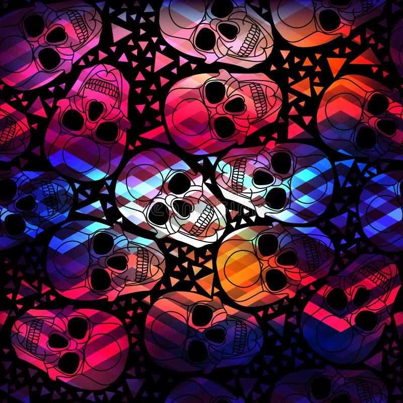 Cráneo con el ornamento poligonal Víspera de Todos los Santos inconsútil ilustración del vector