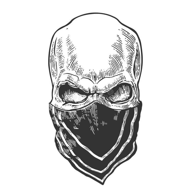 Cráneo con el pañuelo Ejemplo negro del vintage stock de ilustración