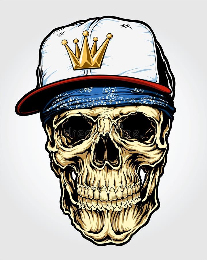 Cráneo con el pañuelo y el casquillo stock de ilustración