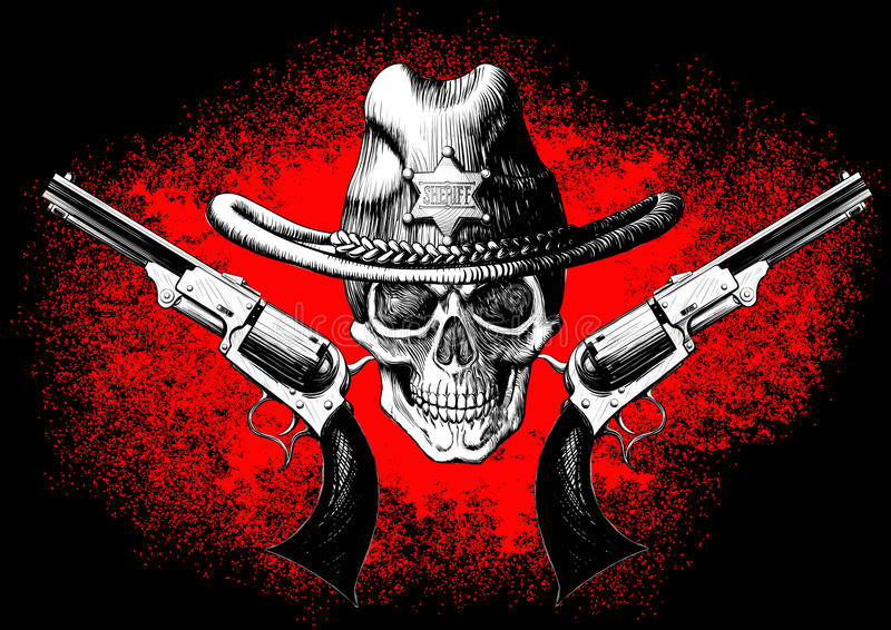 Cráneo con el revólver stock de ilustración