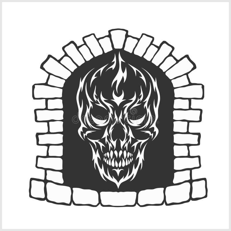Cráneo con estilo de las llamas ilustración del vector