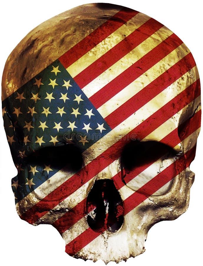 Cráneo con la bandera americana stock de ilustración