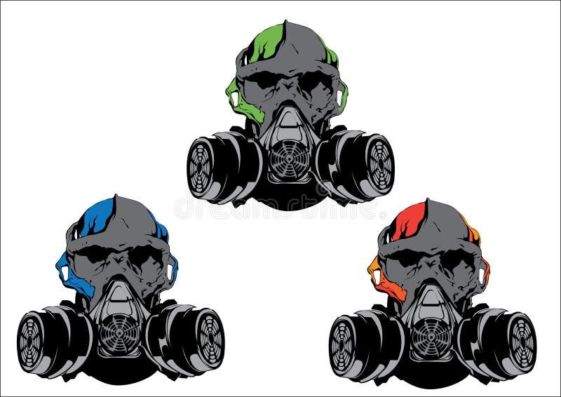 cráneo con la careta antigás ilustración del vector