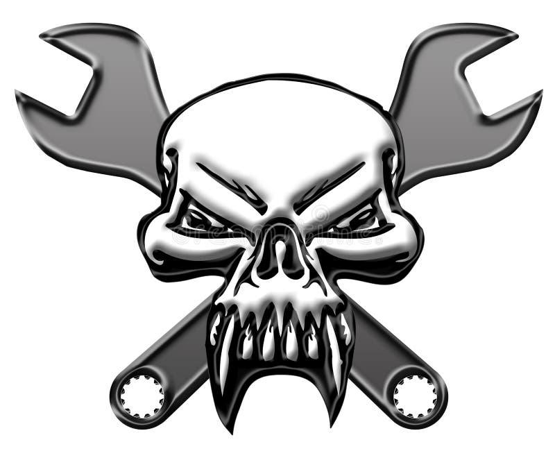 Cráneo con la llave de los mecánicos stock de ilustración