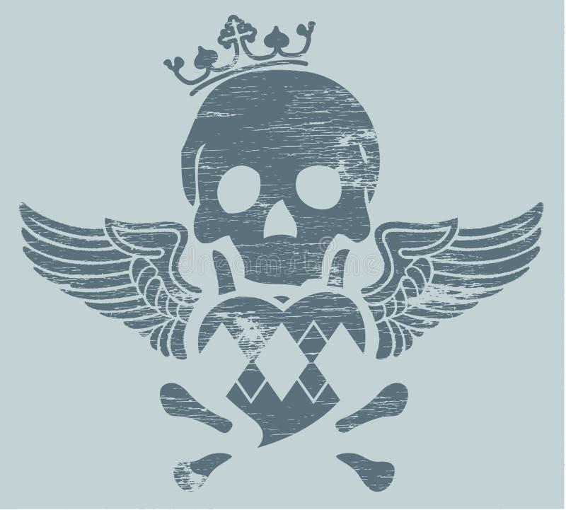 Cráneo con las alas ilustración del vector