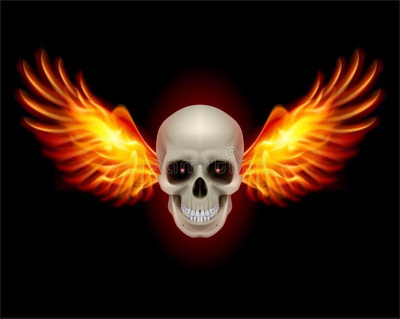 Cráneo con las alas del fuego libre illustration