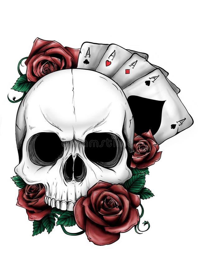 Cráneo con las flores, con las rosas Drenaje a mano Cambio fácil del color del ilustrador 10 stock de ilustración