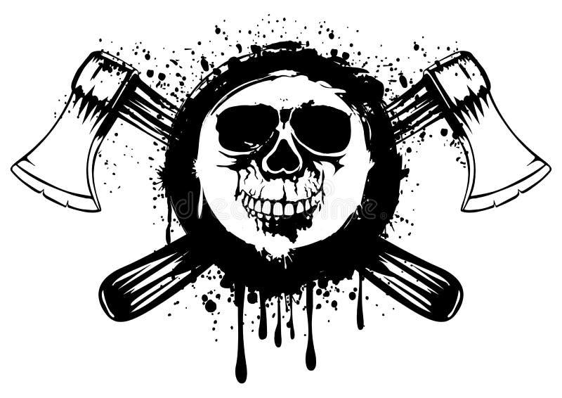 Cráneo con las hachas cruzadas stock de ilustración