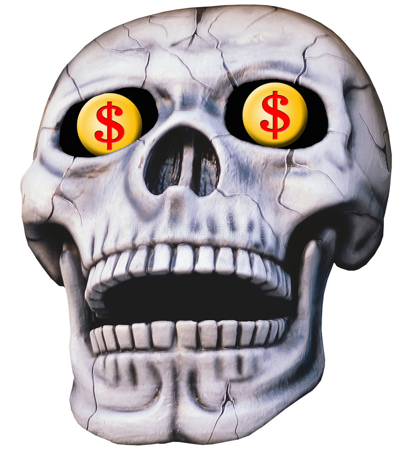 Cráneo con las muestras de dólar ilustración del vector