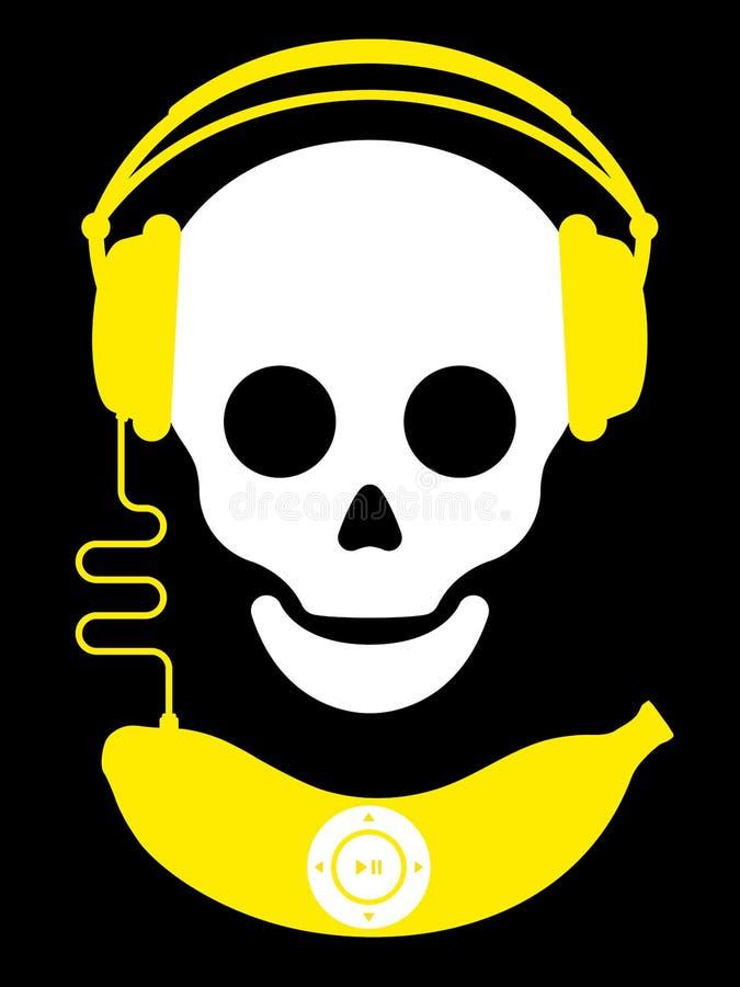 Cráneo con los auriculares y el jugador de música del plátano libre illustration