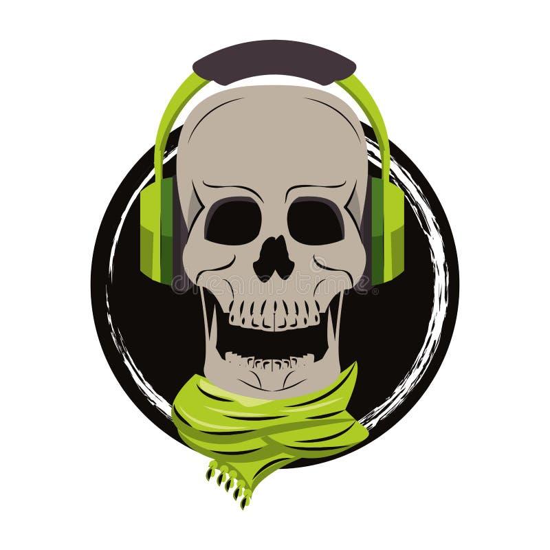 Cráneo con los auriculares y la bufanda libre illustration