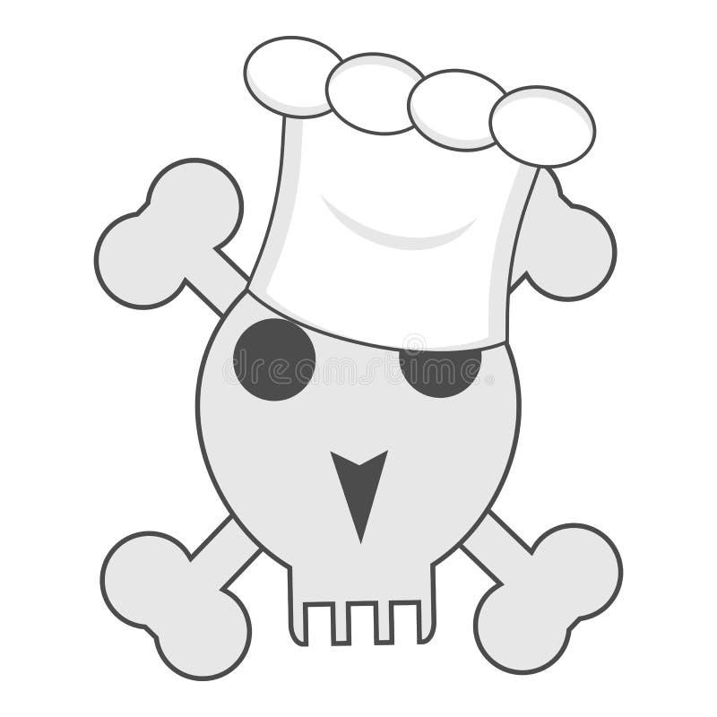 Cráneo con los huesos en el sombrero del cocinero del cocinero stock de ilustración