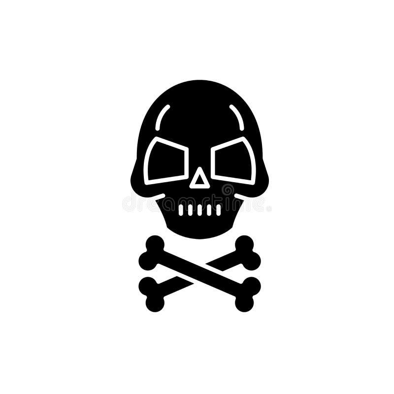 Cráneo con los huesos icono negro, muestra del vector en fondo aislado Cráneo con el símbolo del concepto de los huesos, ejemplo ilustración del vector