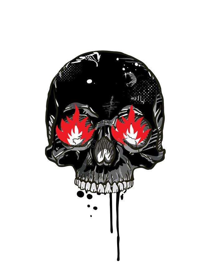 Cráneo con los ojos ardiendo ilustración del vector
