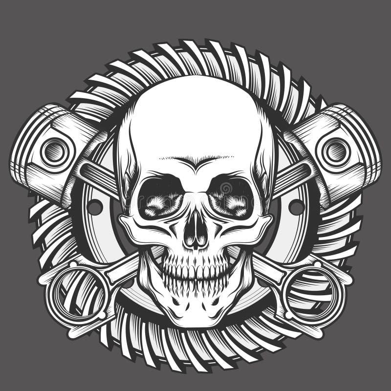 Cráneo con los pistones contra emblema del engranaje de la motocicleta stock de ilustración