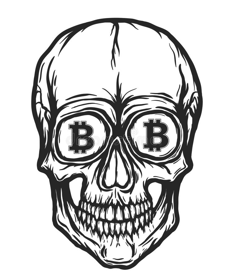 Cráneo con símbolos del bitcoin ilustración del vector