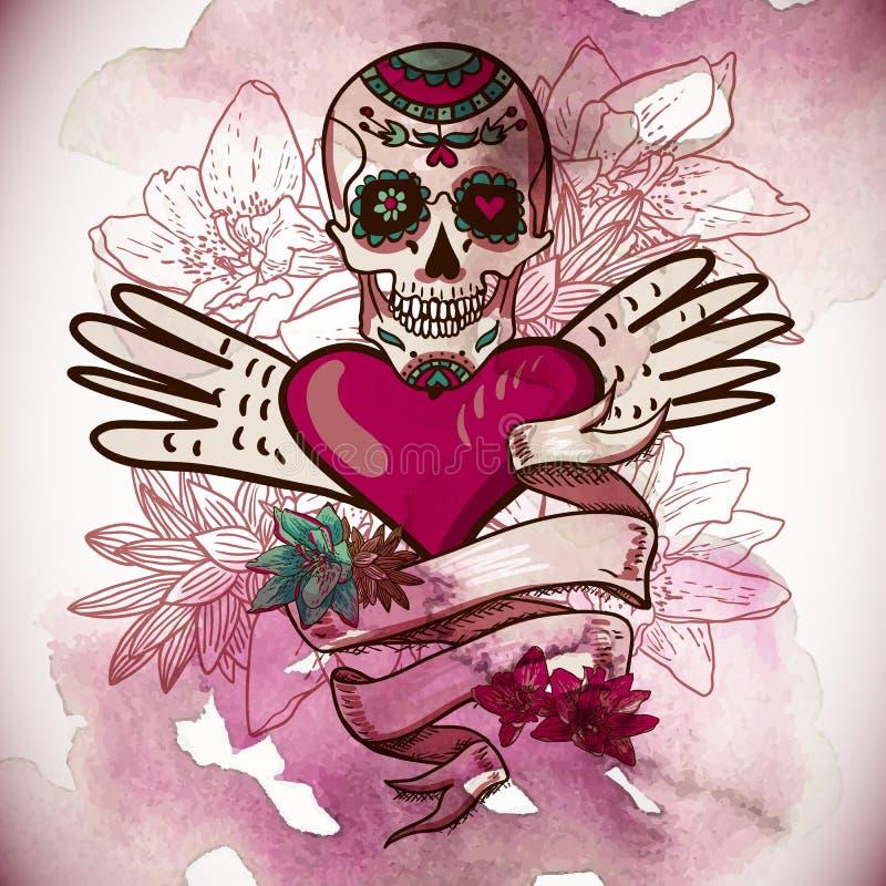 Cráneo, corazones y ejemplo del vector de las flores stock de ilustración