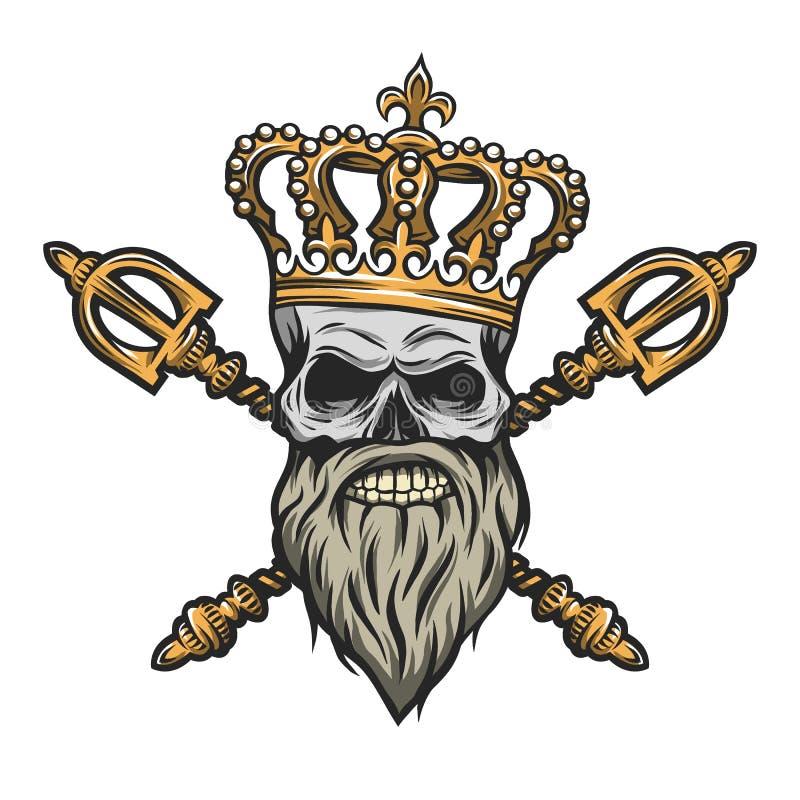 Cráneo, corona y cetro Versión del color stock de ilustración