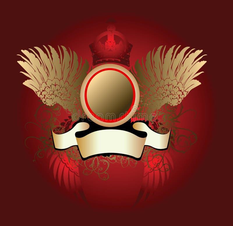Cráneo coronado oro rojo en las alas libre illustration