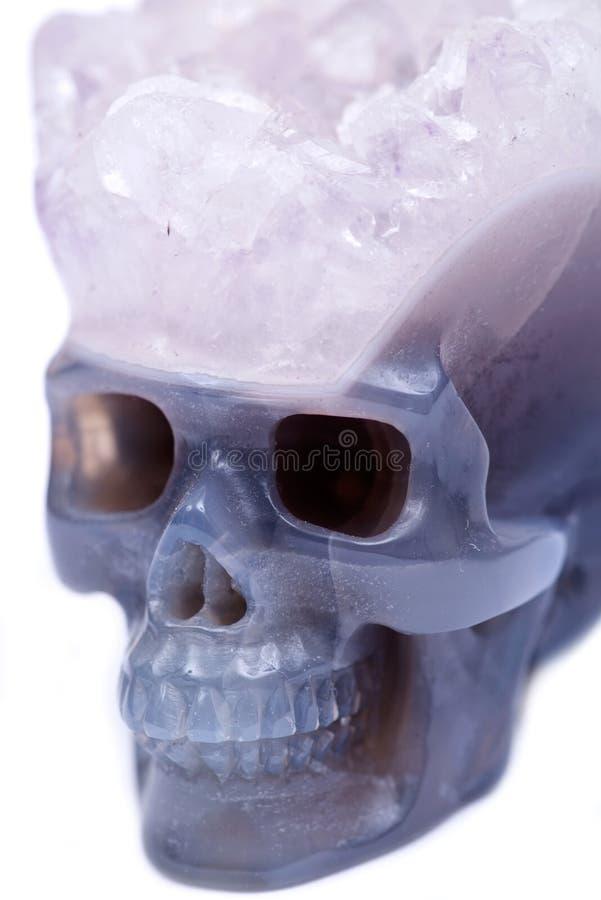 Cráneo cristalino tallado druso azul de la ágata del cordón imágenes de archivo libres de regalías