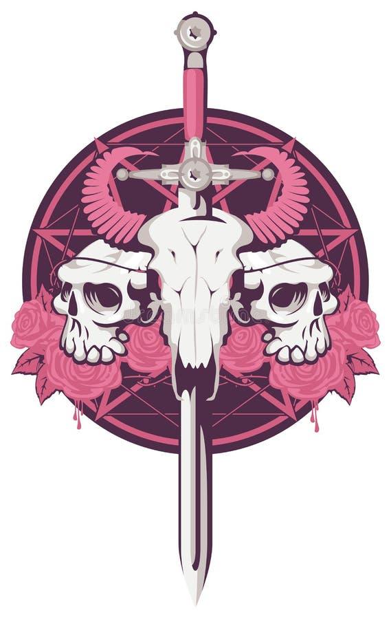 Cráneo de Bull y del ser humano con la espada stock de ilustración